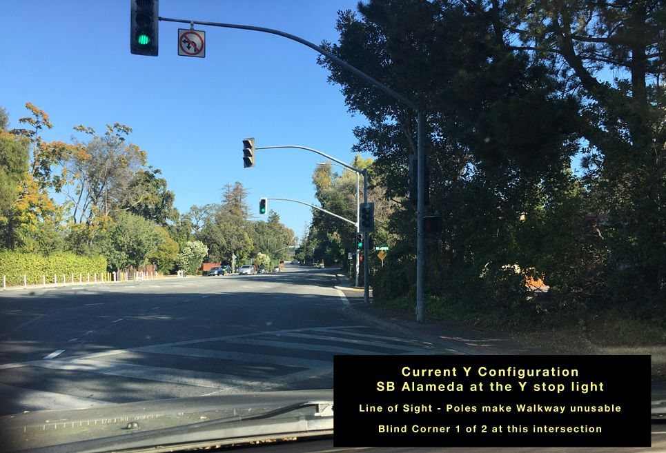 Current SB Alameda at Y intersection-Line of sight
