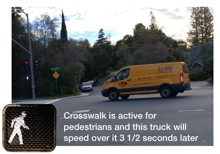 "Pedestrian at serious risk in crosswalk at ""Y"""