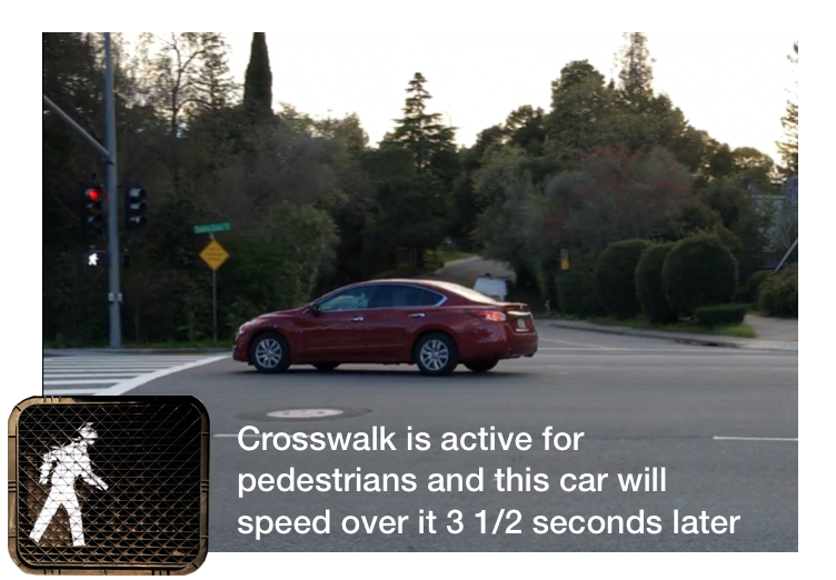 "Pedestrian at serious risk in crosswalk at ""Y"""